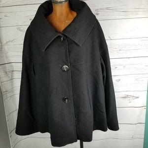 Lane Bryant Pea Coat Womans Size 22/24 Black Wool
